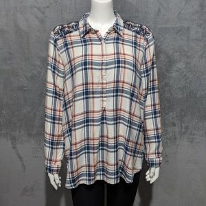 Lucky Brand red blue plaid embroidered blouse